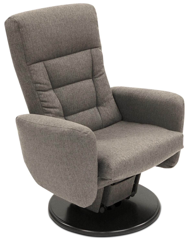 Living Room Furniture - Nadia Linen-Look Fabric Swivel Glider Reclining Chair – Grey