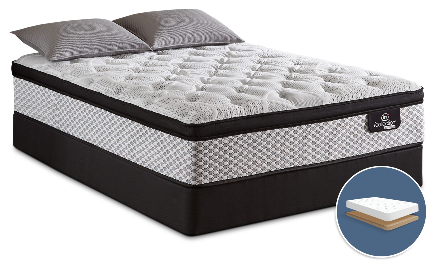 Serta iCollection® Jordyn Euro-Top Firm Low-Profile Full Mattress Set