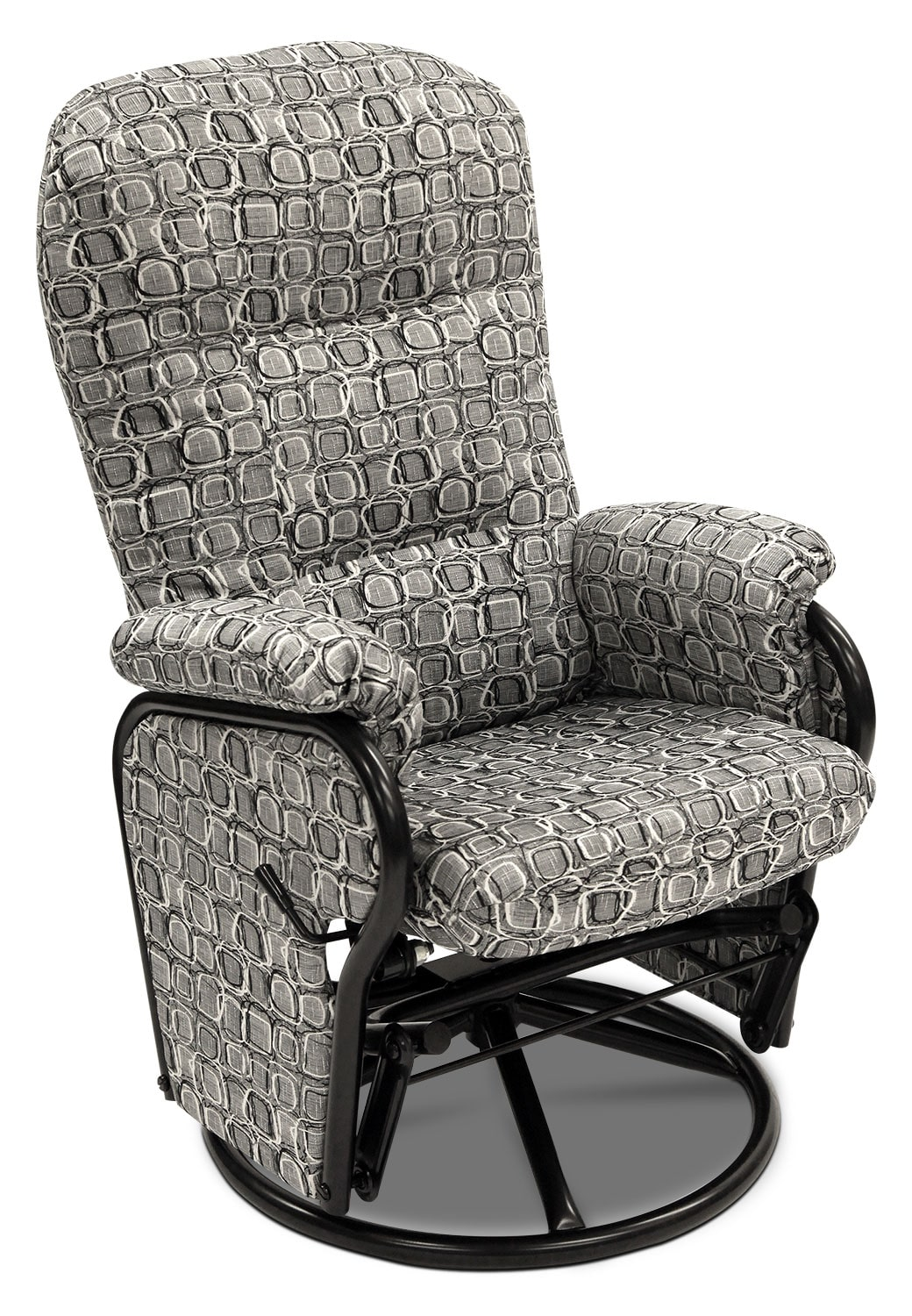 Asher fabric swivel glider reclining chair tuxedo the brick for Fabric swivel armchairs for living room