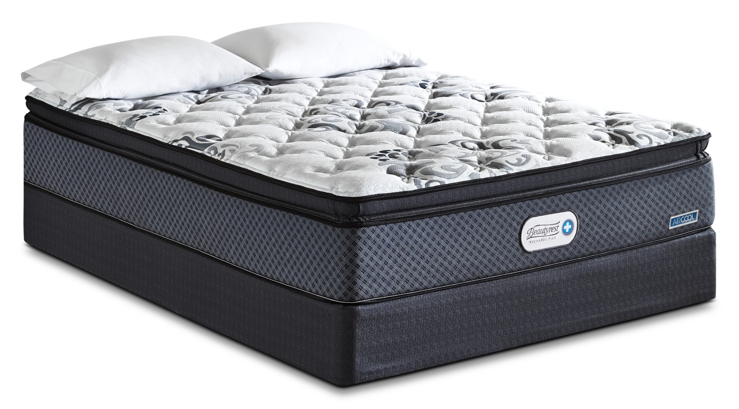 Mattresses and Bedding - Beautyrest Recharge Inspire Hi-Loft Pillow-Top Firm Low-Profile Split Queen Mattress Set