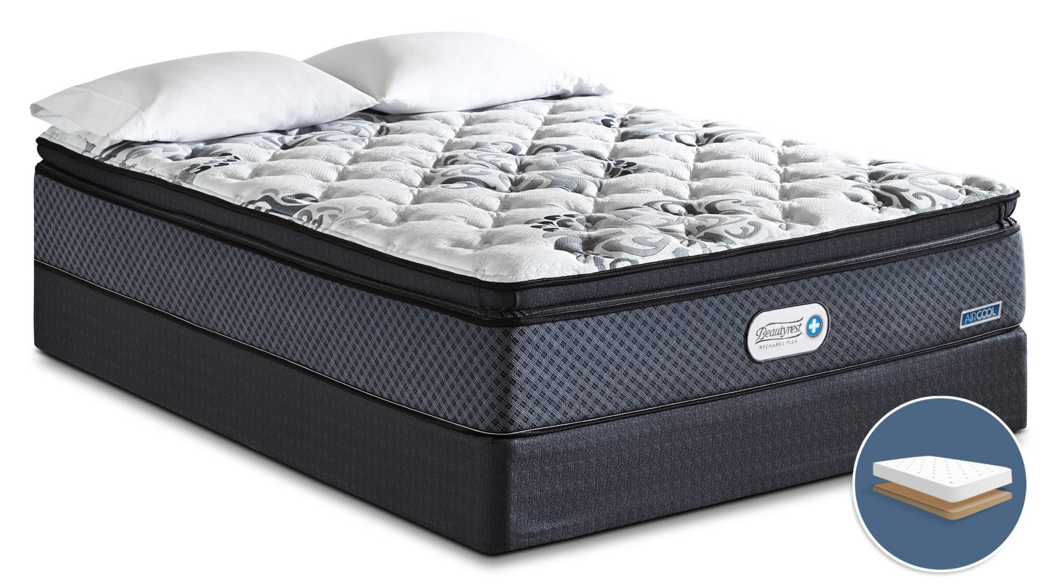 Beautyrest Recharge Inspire Hi-Loft Pillow-Top Firm Low-Profile Queen Mattress Set