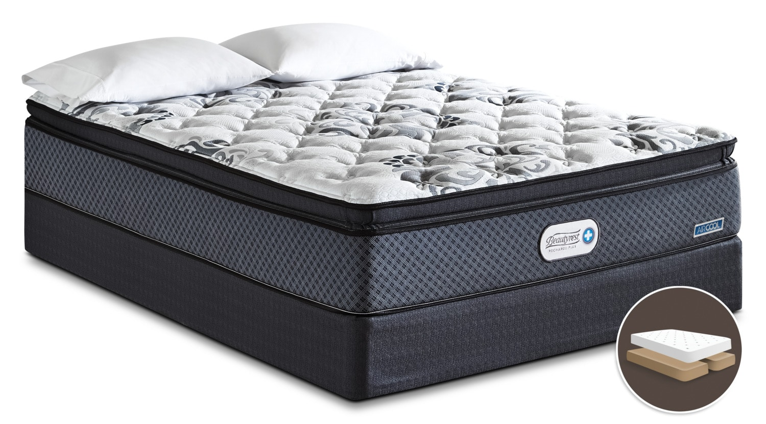 Beautyrest Recharge Inspire Hi-Loft Pillow-Top Firm Split Queen Mattress Set