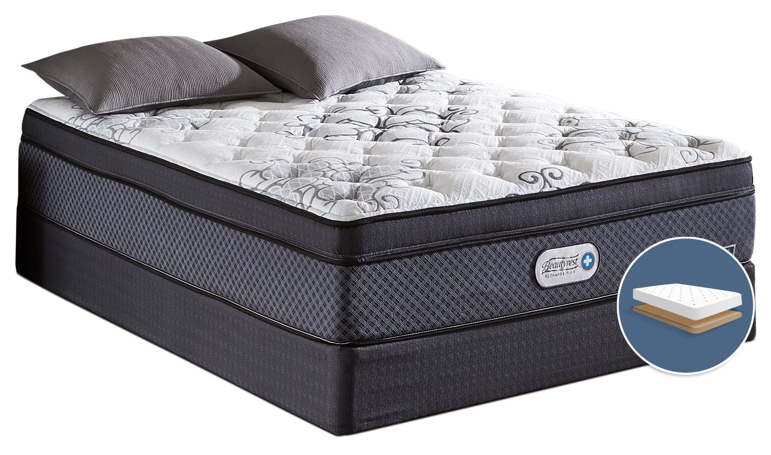 Mattresses and Bedding - Beautyrest Recharge Covington Euro-Top Luxury Firm Low-Profile Full Mattress Set