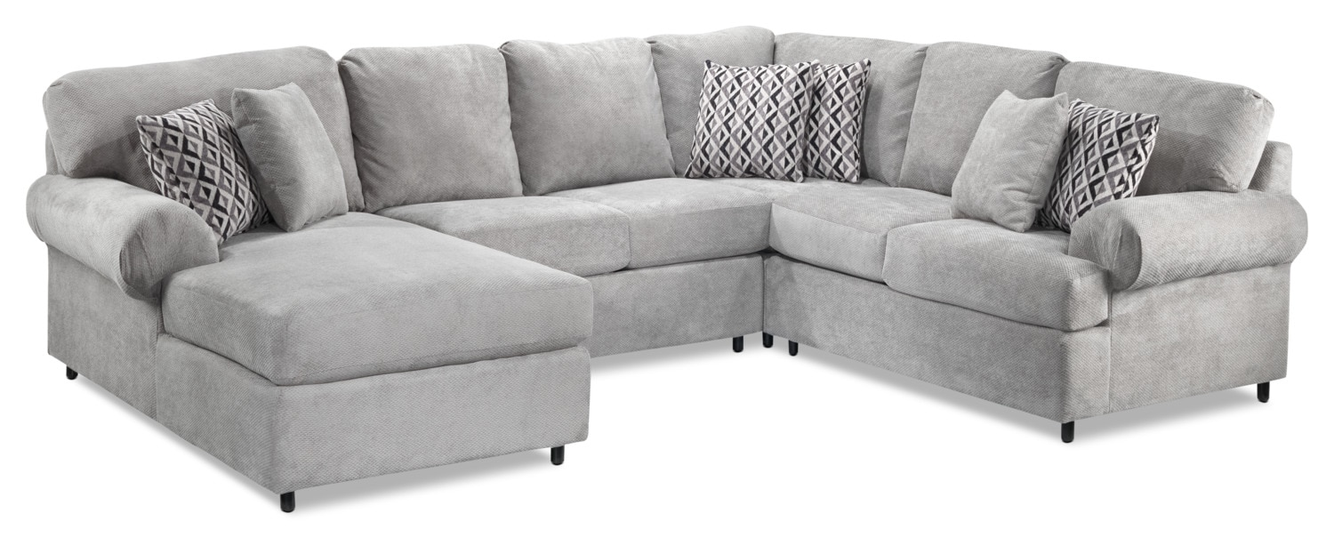 Covina 4-Piece Left-Facing Sectional with Chaise - Ash