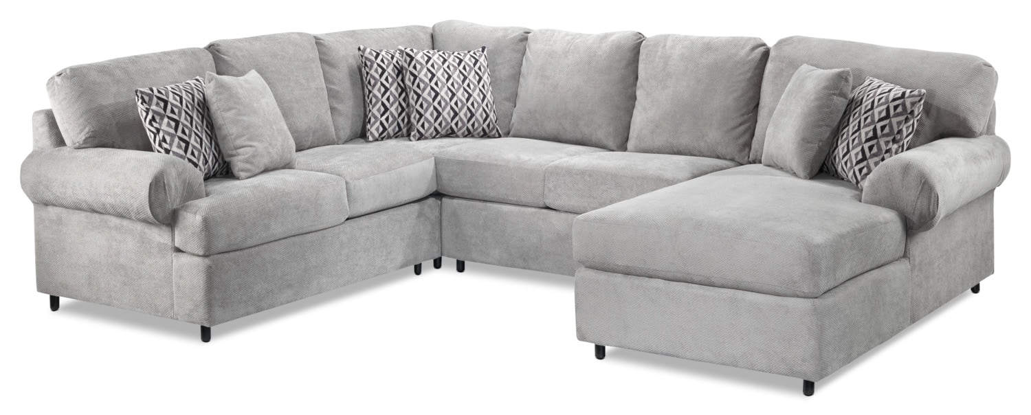 Covina 4-Piece Right-Facing Sectional with Chaise - Ash