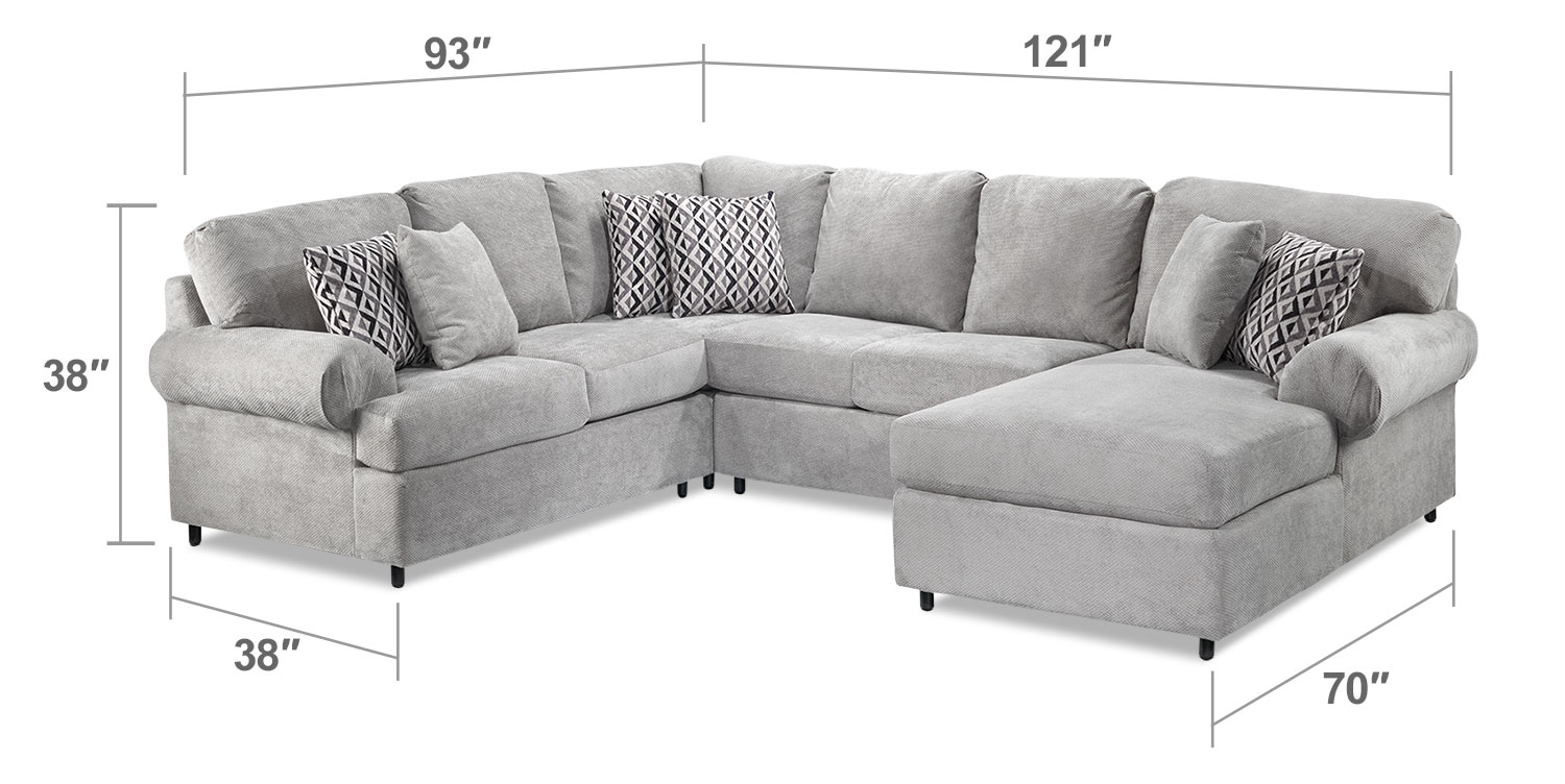 Covina 4 piece right facing sectional with chaise ash for Sectional sofa with chaise dimensions