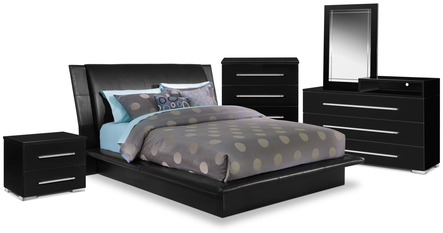 Dimora Queen Upholstered Bed Black By Factory Outlet