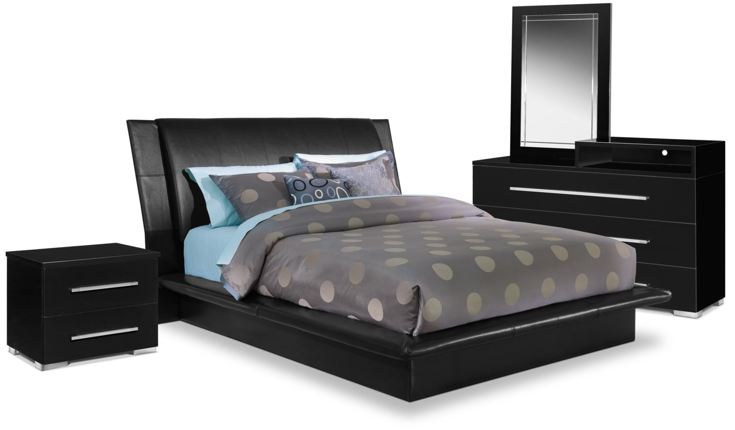 Dimora 6 Piece Queen Upholstered Bedroom Set With Media Dresser Black Val