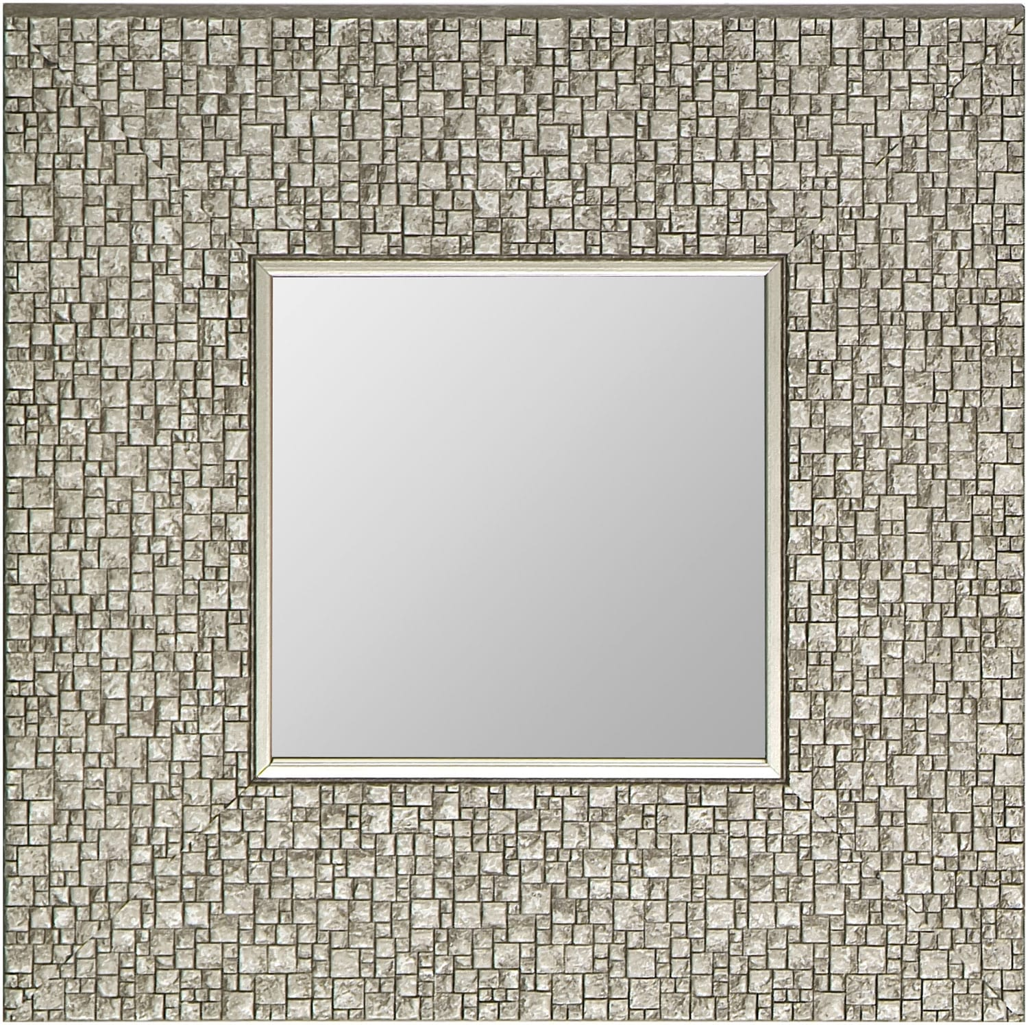 "Accent and Occasional Furniture - Silver Square Mirror – 11.25"" x 11.25"""