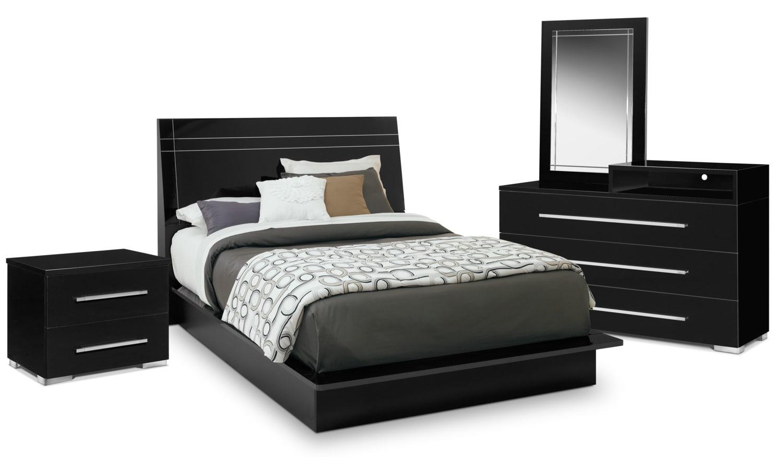 Dimora 6 Piece King Panel Bedroom Set With Media Dresser Black American S