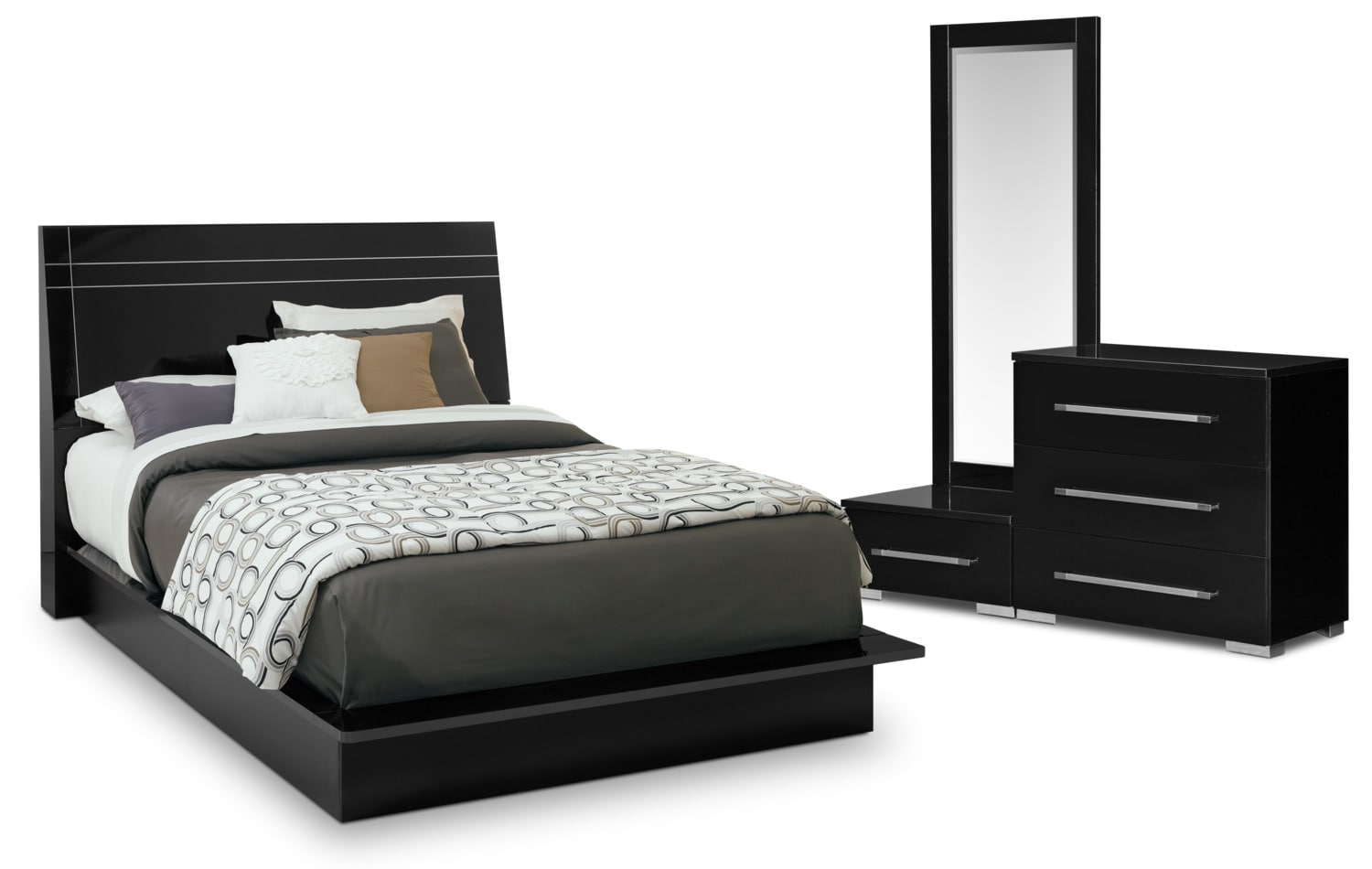 Dimora 5 Piece King Panel Bedroom Set Black American Signature Furniture