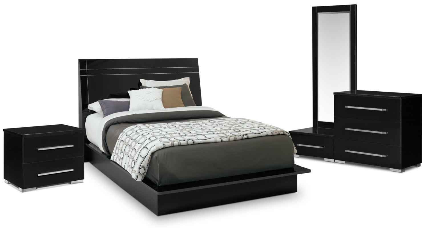 Dimora queen panel bed black value city furniture for Bedroom furniture queen