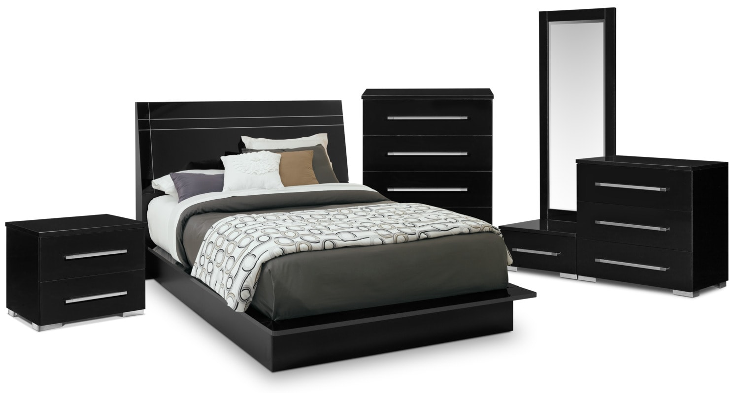 Dimora 7 Piece King Panel Bedroom Set Black American Signature Furniture