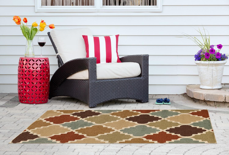 Mobilier de jardin - Carpette Taza Multi pour l'extérieur - 7 pi x 10 pi