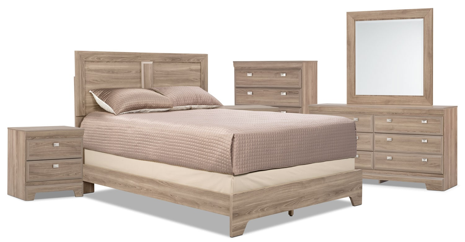 Yorkdale Light 8-Piece Queen Panel Bedroom Package