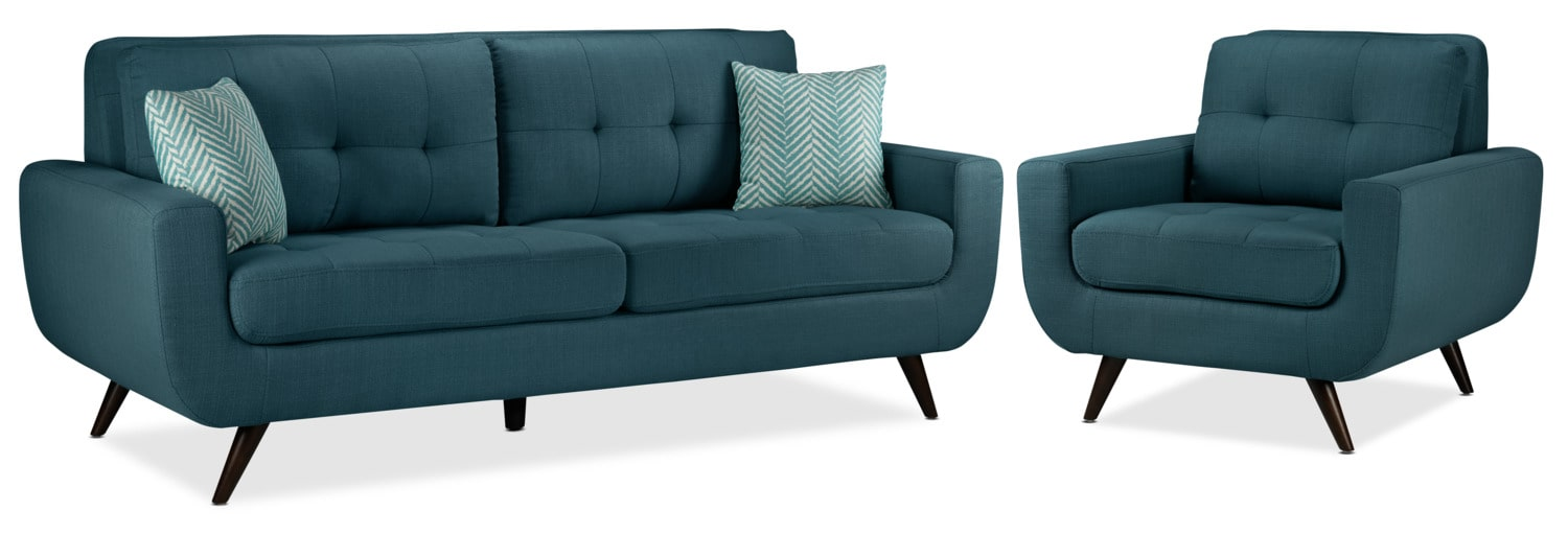 Julian Sofa and Chair Set - Blue
