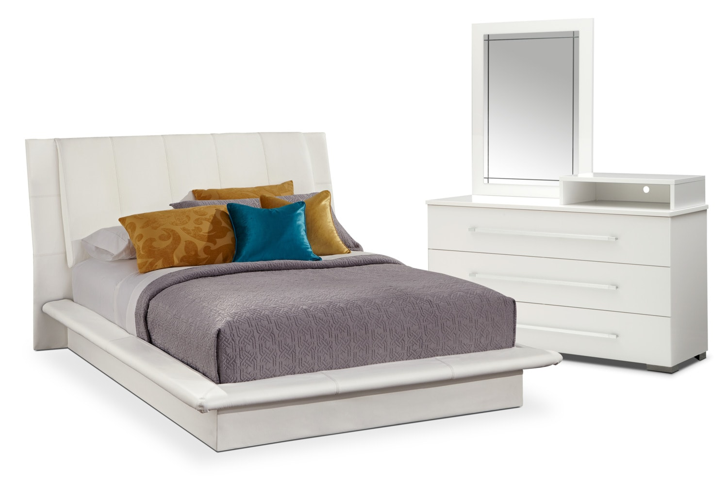Dimora 5 Piece Queen Upholstered Bedroom Set With Media Dresser White Ame