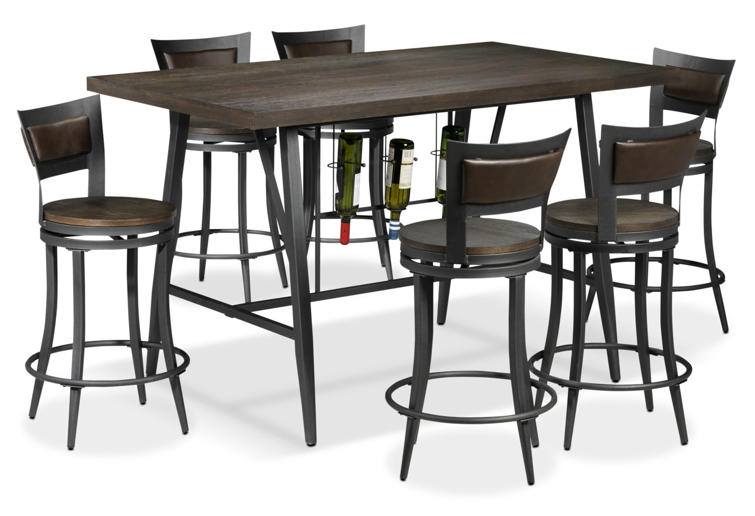 Richmond 7-Piece Pub-Height Dinette - Dark Grey and Brown
