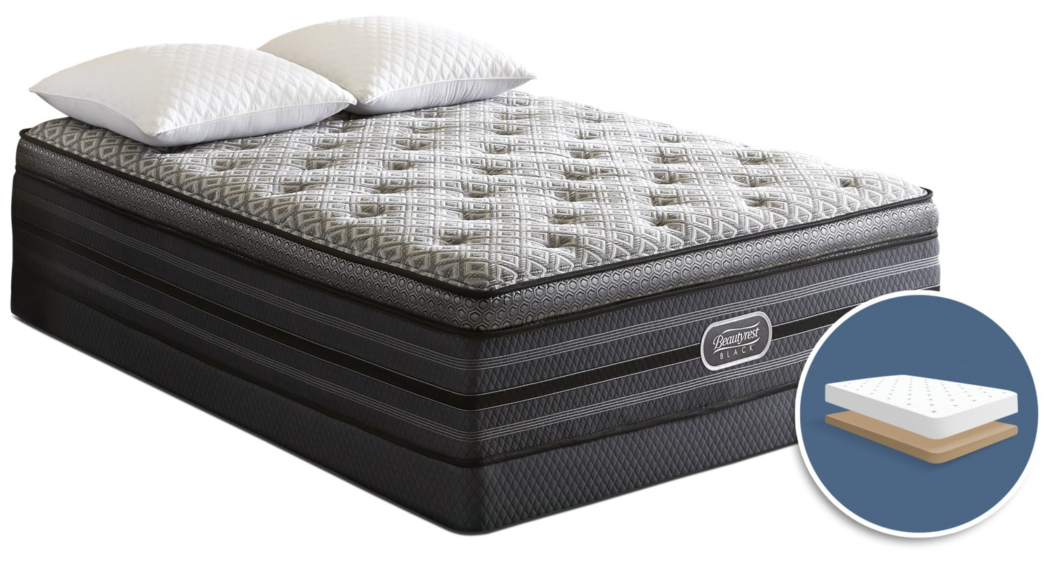 Mattresses and Bedding - Beautyrest Black Palatial Ultra Comfort-Top Plush Low-Profile Queen Mattress Set