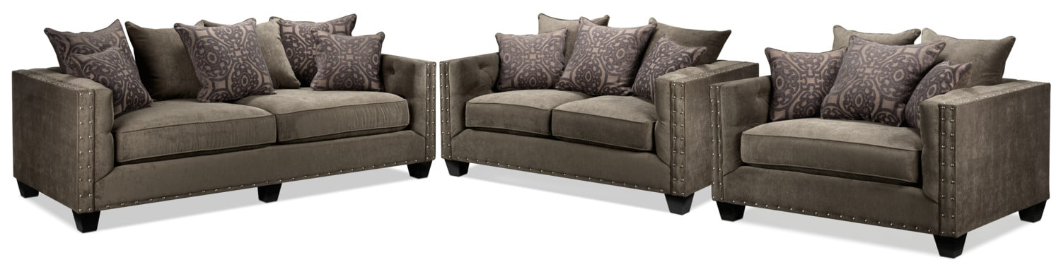 Margot Sofa, Loveseat and Chair and a Half Set - Truffle