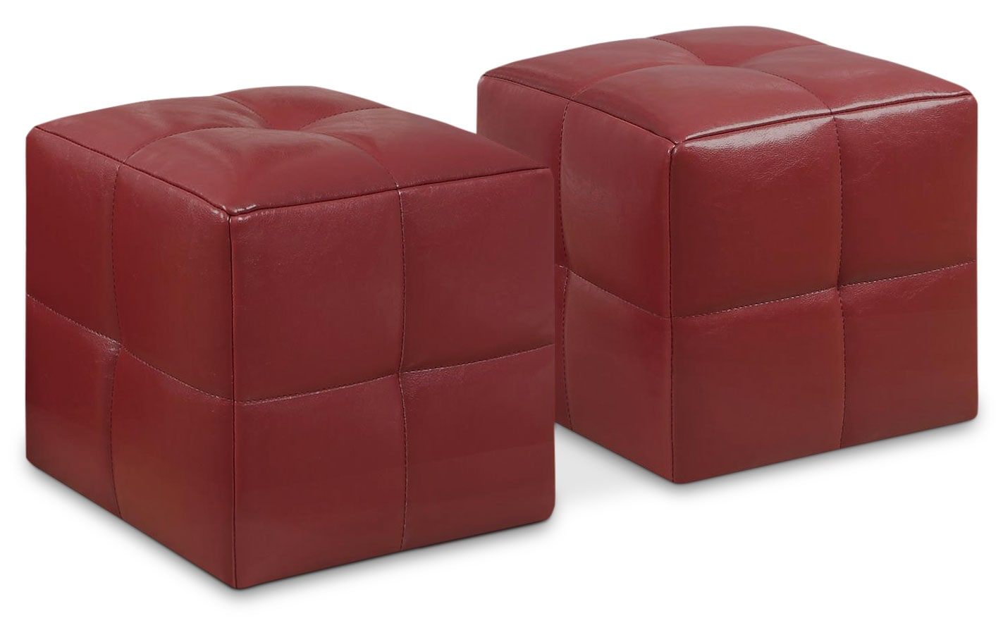 Mili 2-Piece Ottoman Set – Red