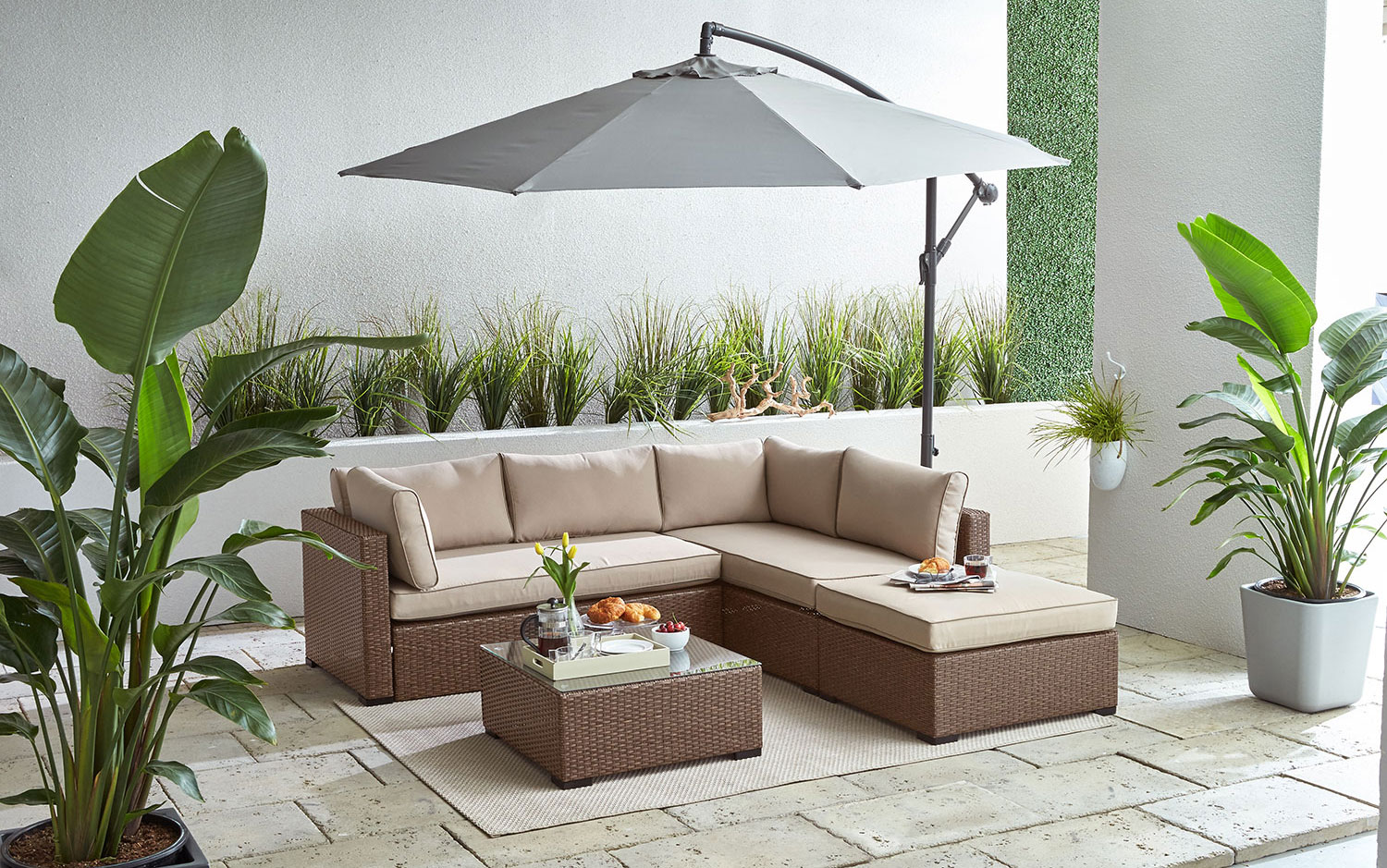 Caribe Outdoor Sectional with Ottoman and Coffee Table Set - Beige and Light Brown