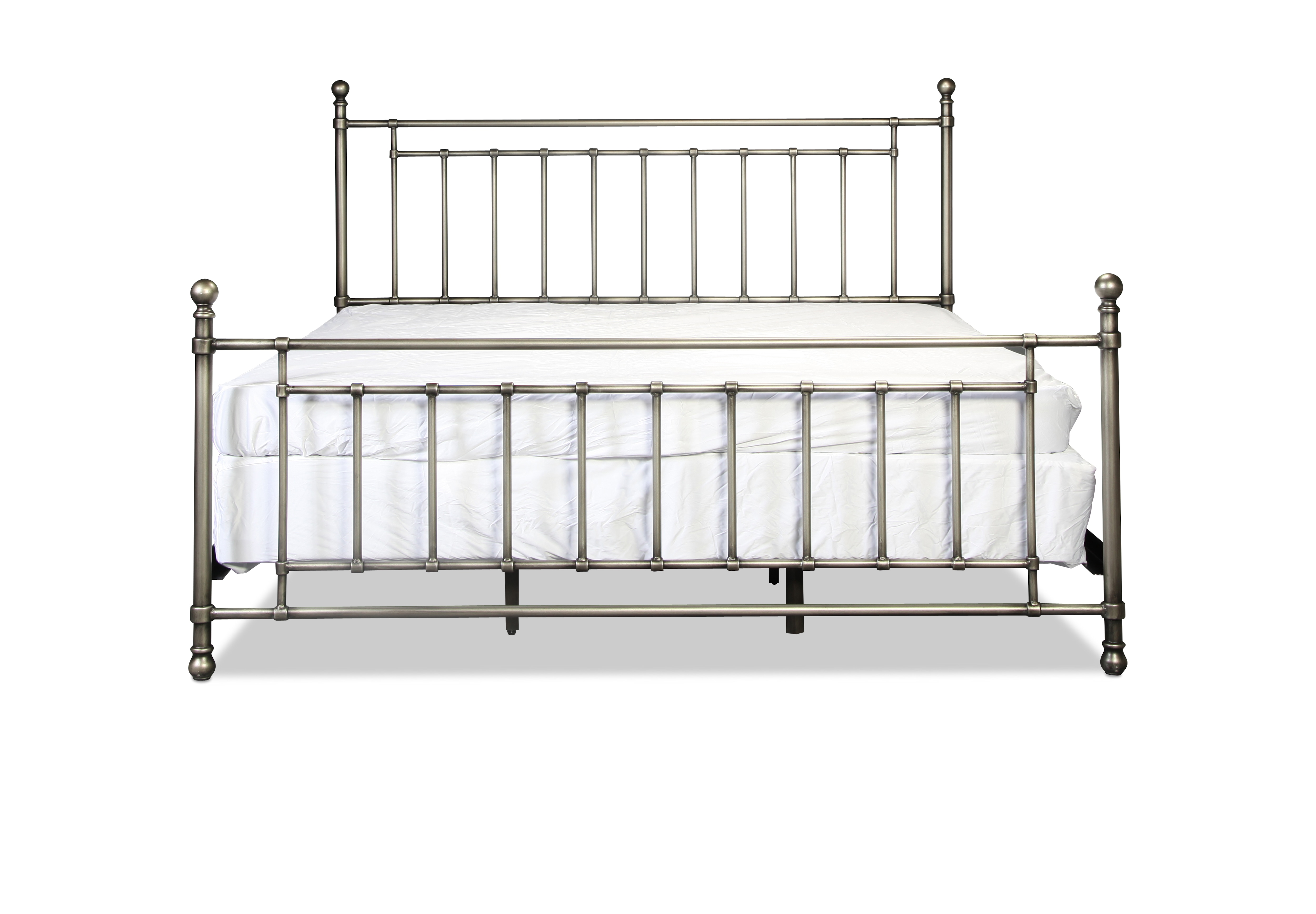 Bedford King Metal Bed - Antique Pewter