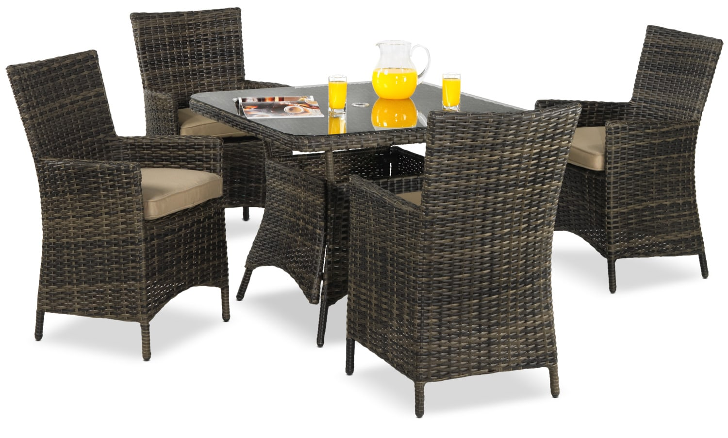 Pisa Outdoor 5-Piece Dinette - Brown