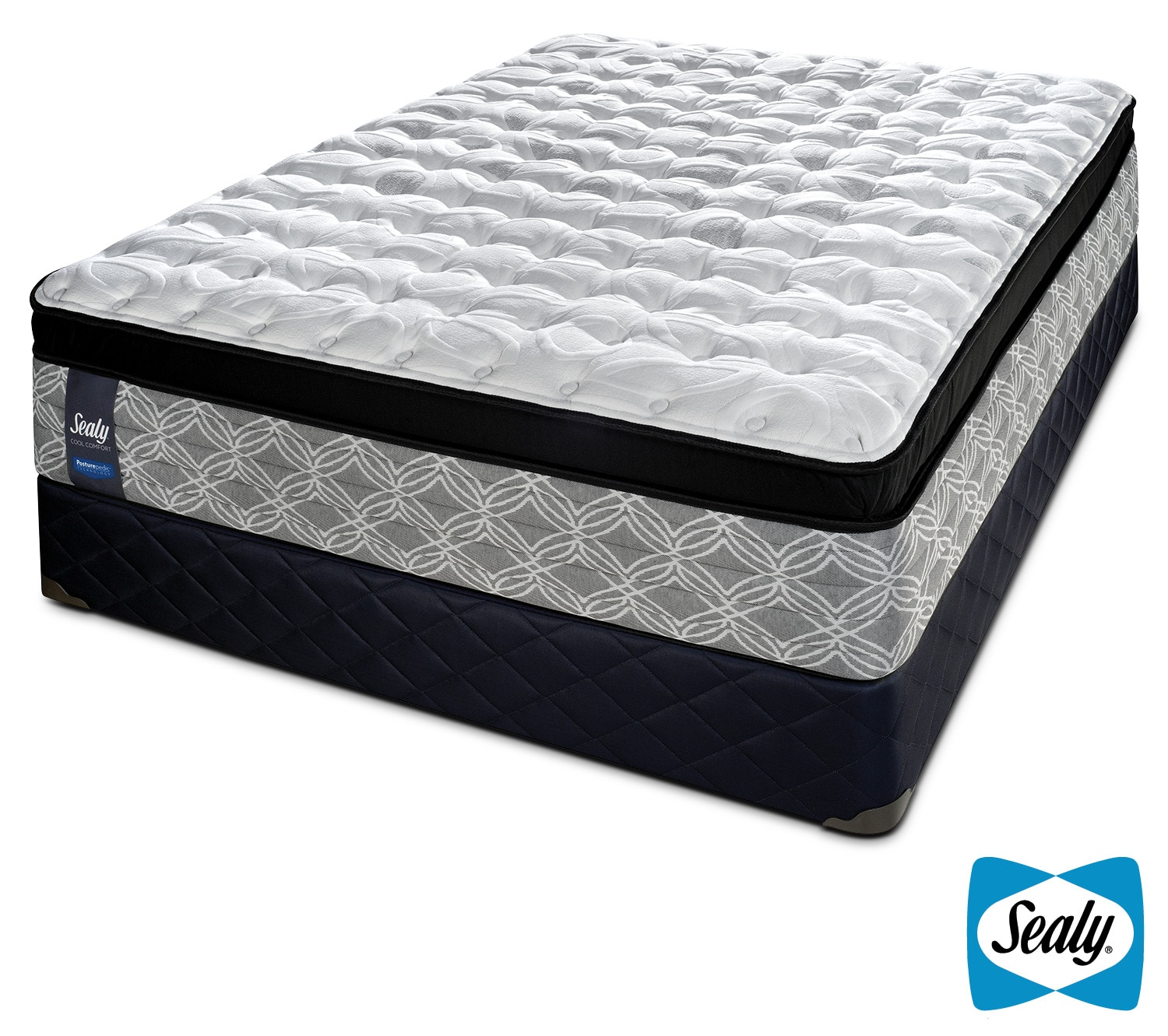 Sealy Sundown Plush Queen Mattress and Boxspring Set