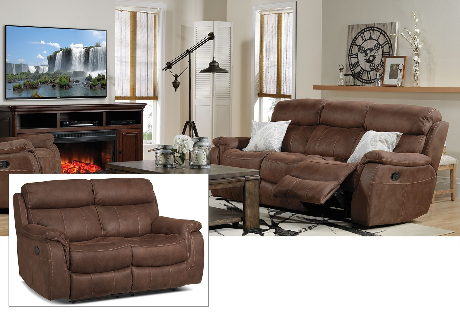 Morrow Reclining Sofa and Reclining Loveseat Set - Saddle Brown