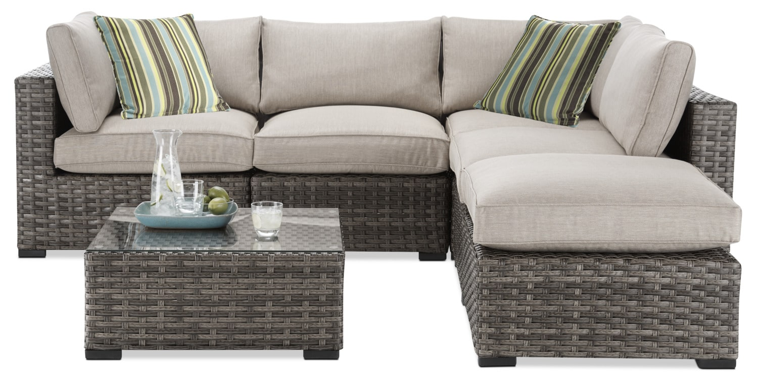 New London 5-Piece Outdoor Sectional and Coffee Table Set - Beige