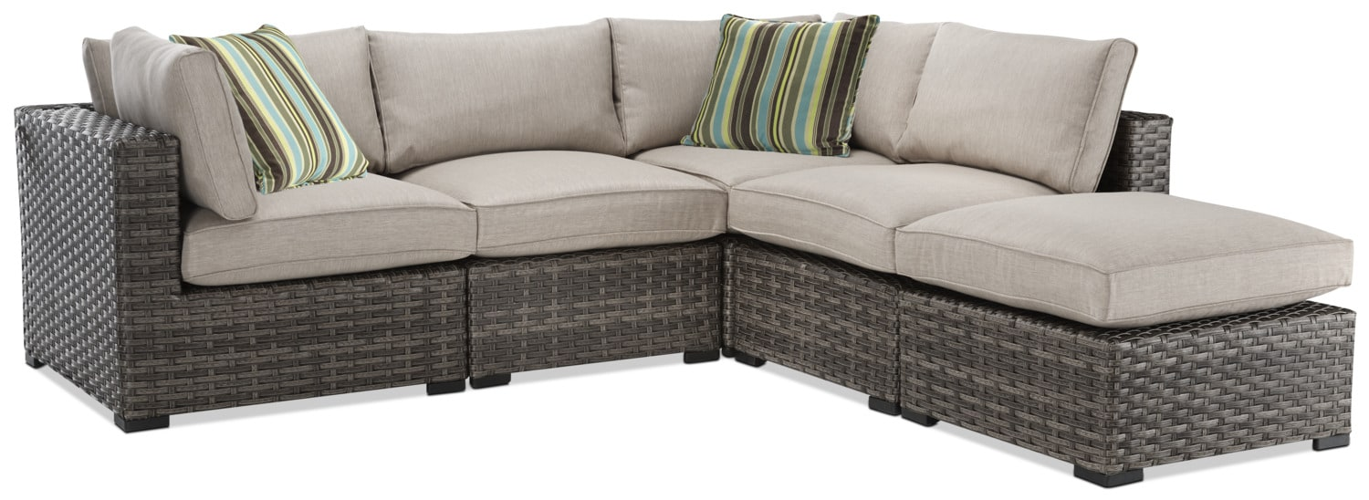 Outdoor Furniture - New London 5-Piece Outdoor Sectional - Beige