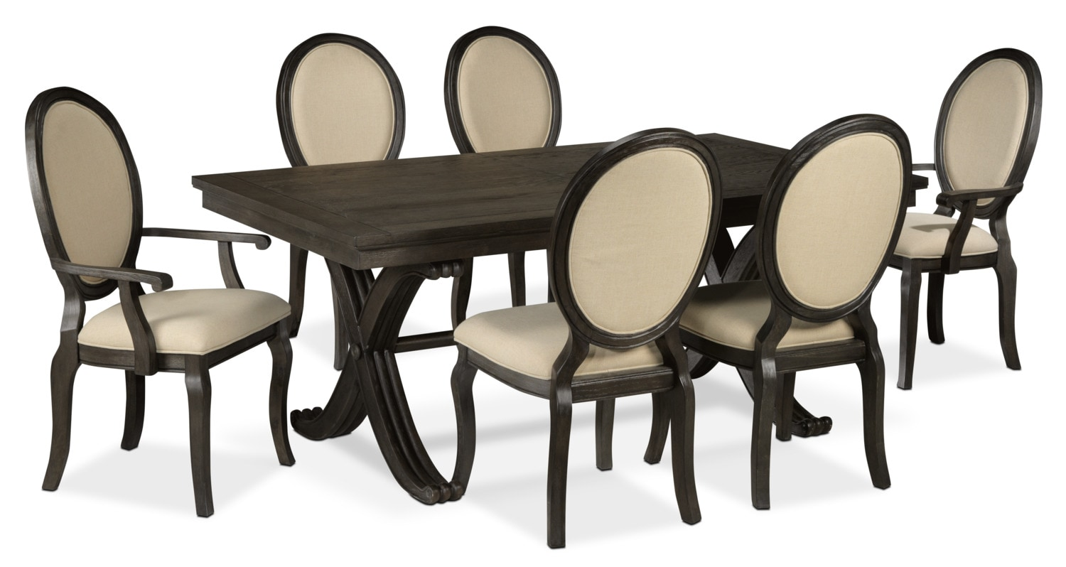 Victoria 7-Piece Dining Room Set - Grey and Beige