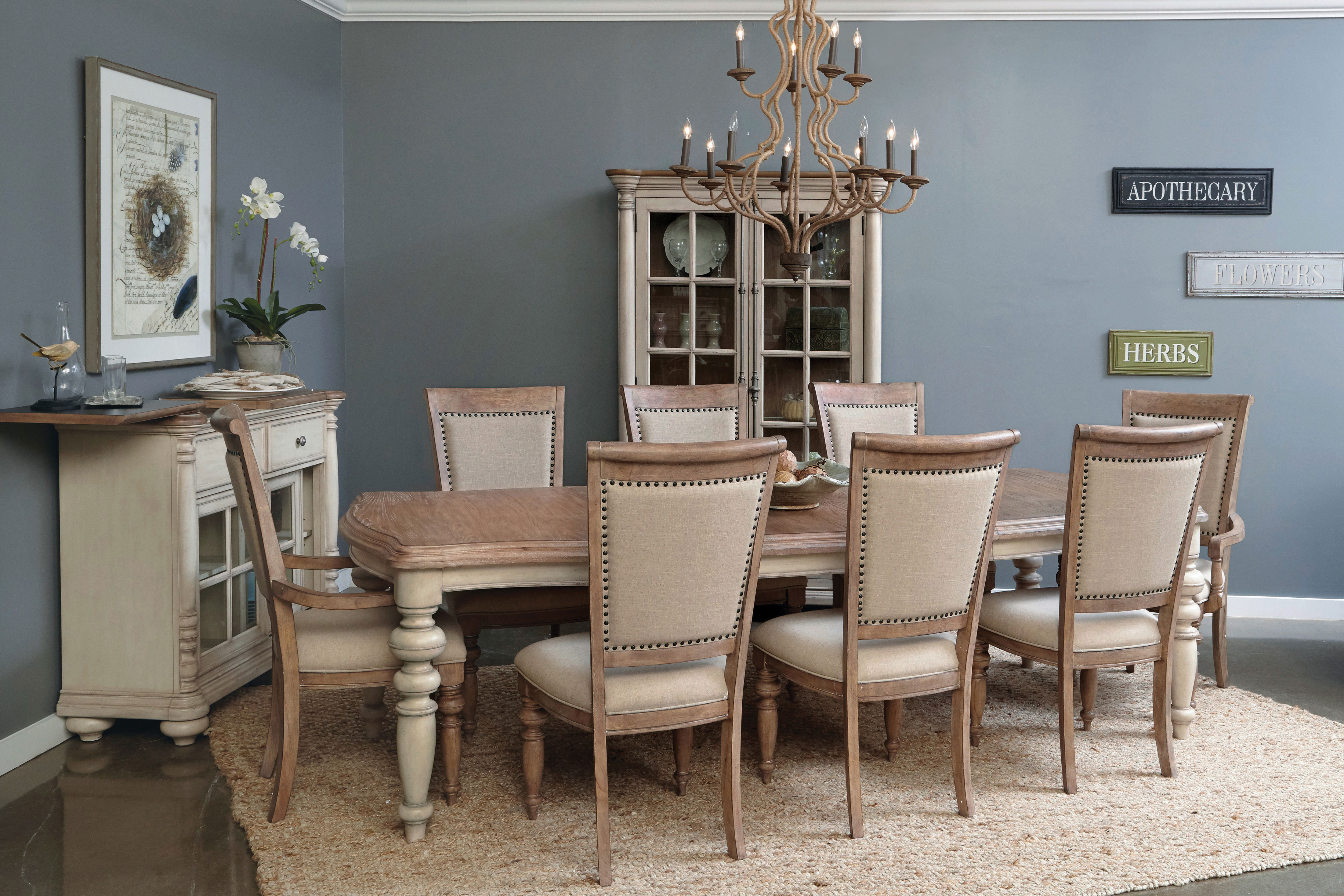 Willow Springs Table, 4 Side Chairs and 2 Arm Chairs - Pecan