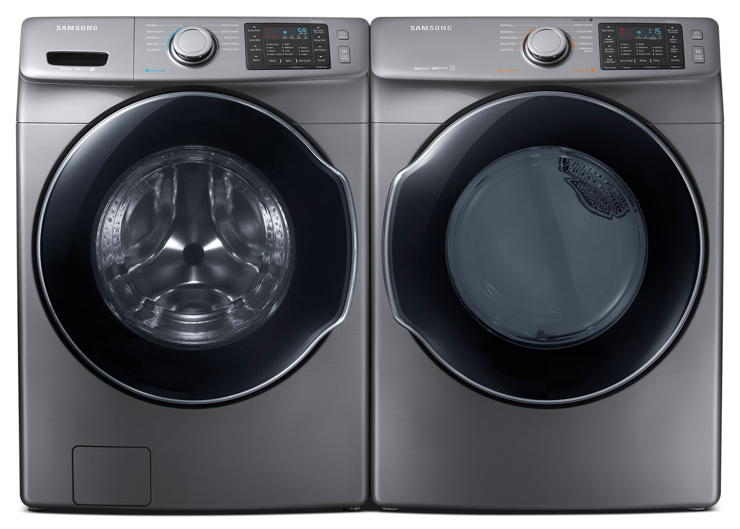 Washers and Dryers - Samsung 5.2 Cu. Ft. Front-Load Steam Washer and 7.5 Cu.Ft. Multi-Steam™ Electric Dryer