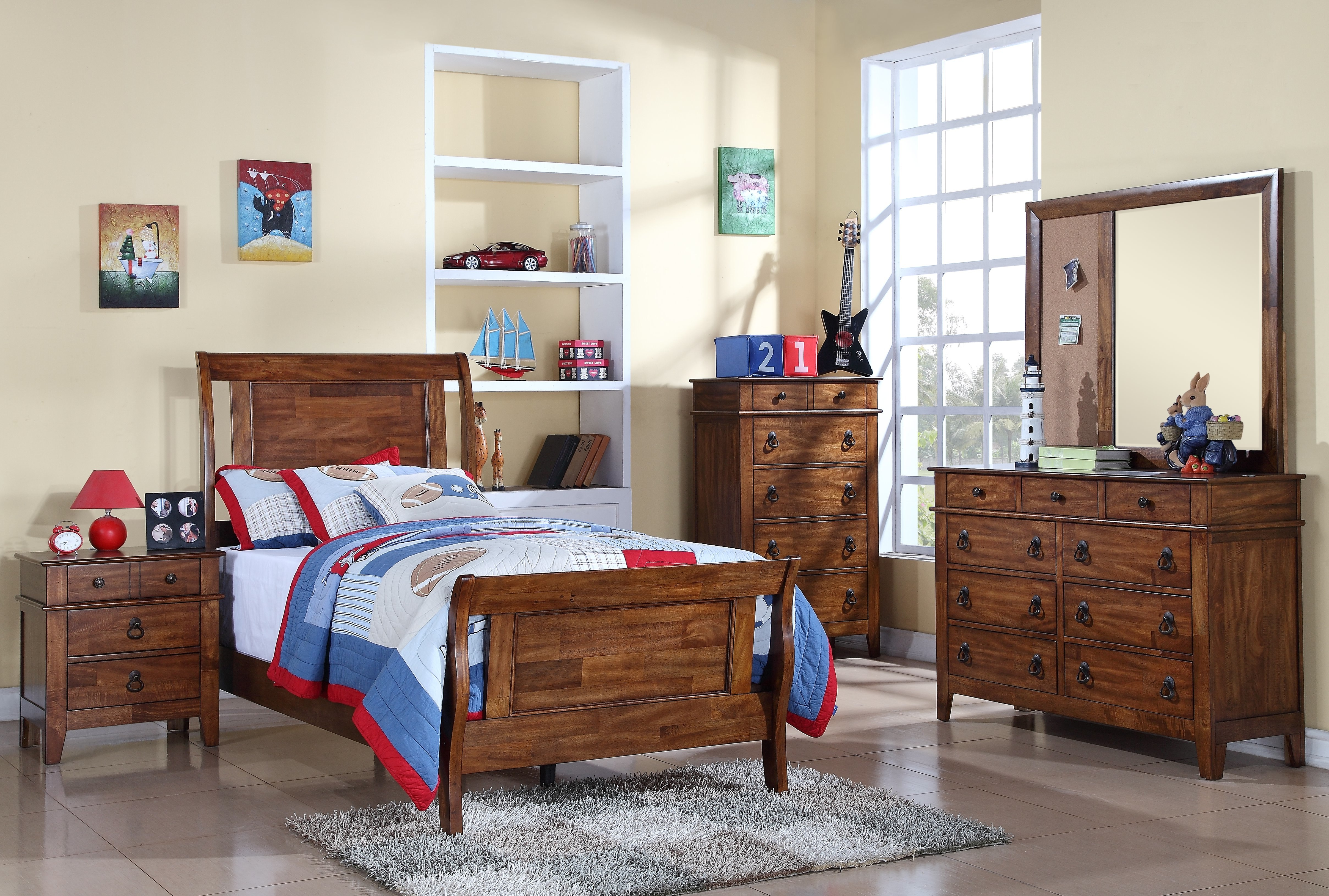 Sutton Twin Bed, Dresser, Mirror and Chest