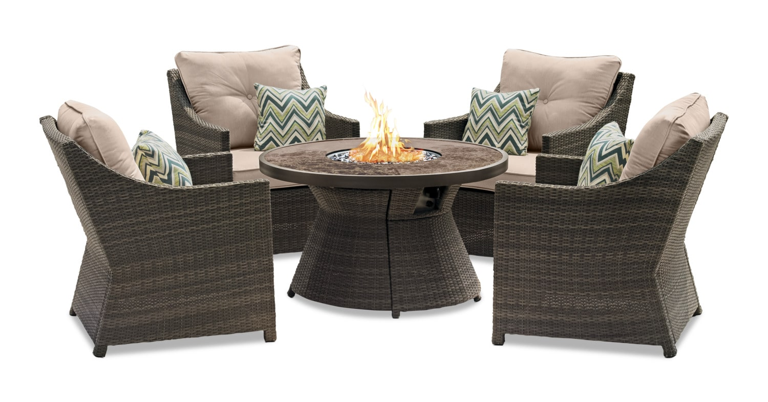 Outdoor Furniture - Tulum 5-Piece Patio Fire Table Package