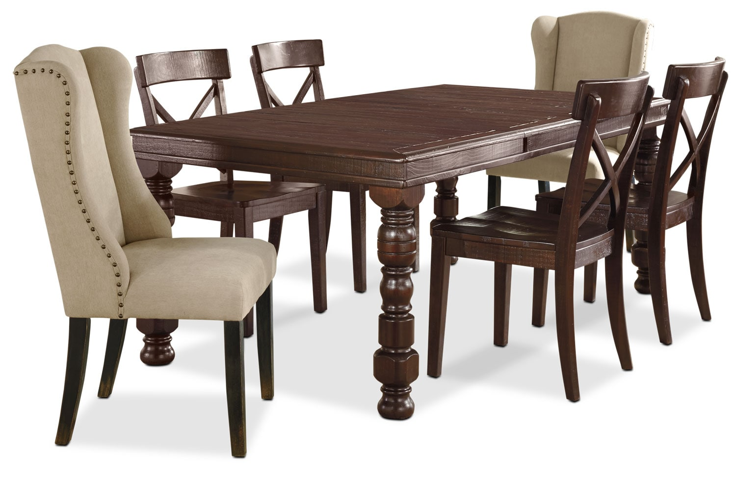 Dining Room Furniture - Gerlane 7-Piece Dining Package with Upholstered Side Chairs