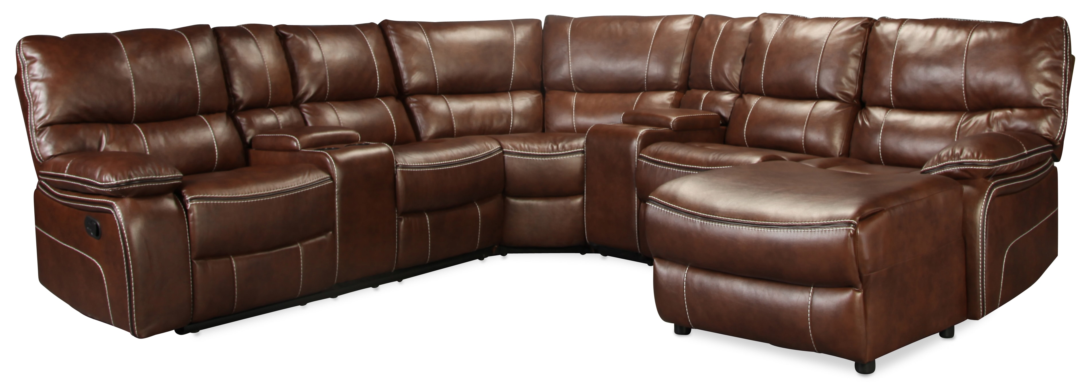 Zayden 5 Piece Reclining Sectional - Whiskey