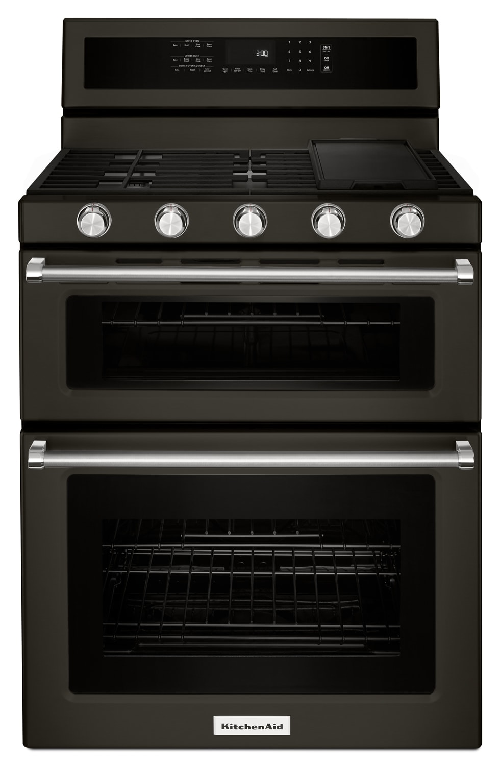 KitchenAid 6.0 Cu. Ft. Double Oven Freestanding Gas Convection Range – KFGD500EBS