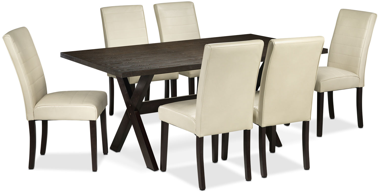 Marlo 7-Piece Dinette Set - Walnut and Beige