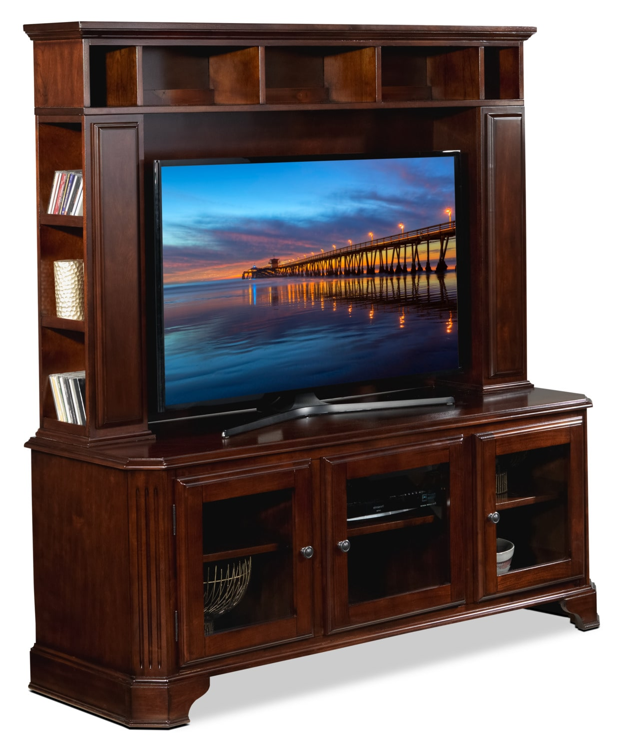Jassy 2-Piece Entertainment Wall Unit - Brown Cherry