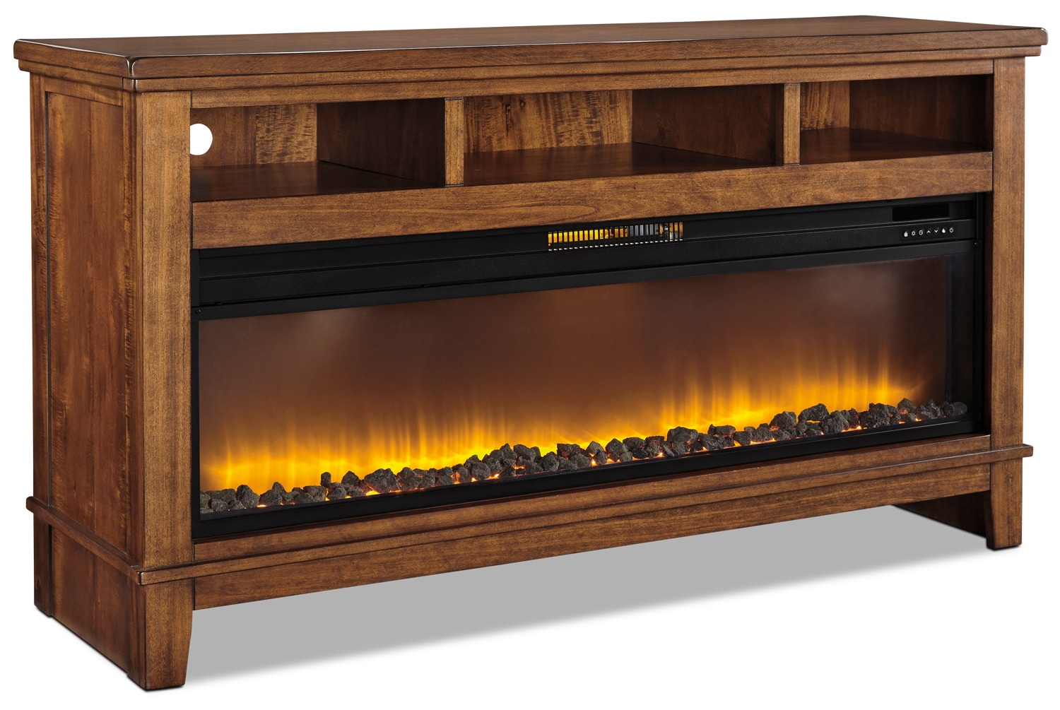 """Entertainment Furniture - Ralene 64"""" TV Stand with Glass and Rock Firebox"""