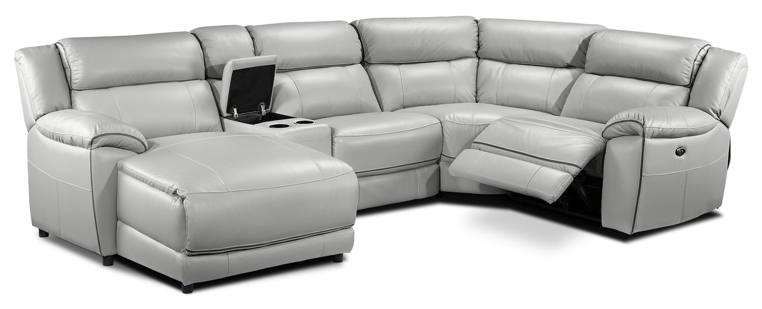 Holton 5-Piece Sectional with Left-Facing Chaise - Grey