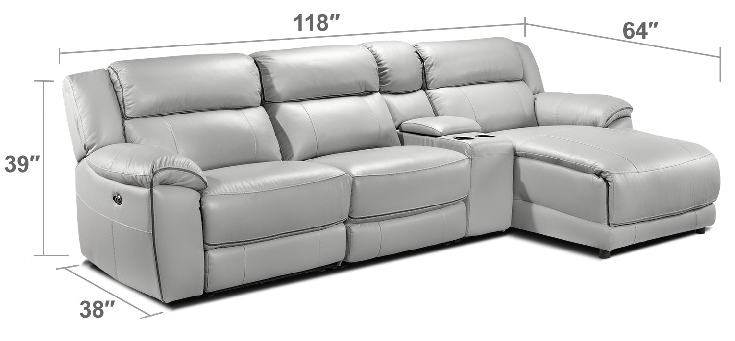 Living Room Furniture - Holton 4-Piece Sectional with Right-Facing Chaise - Grey