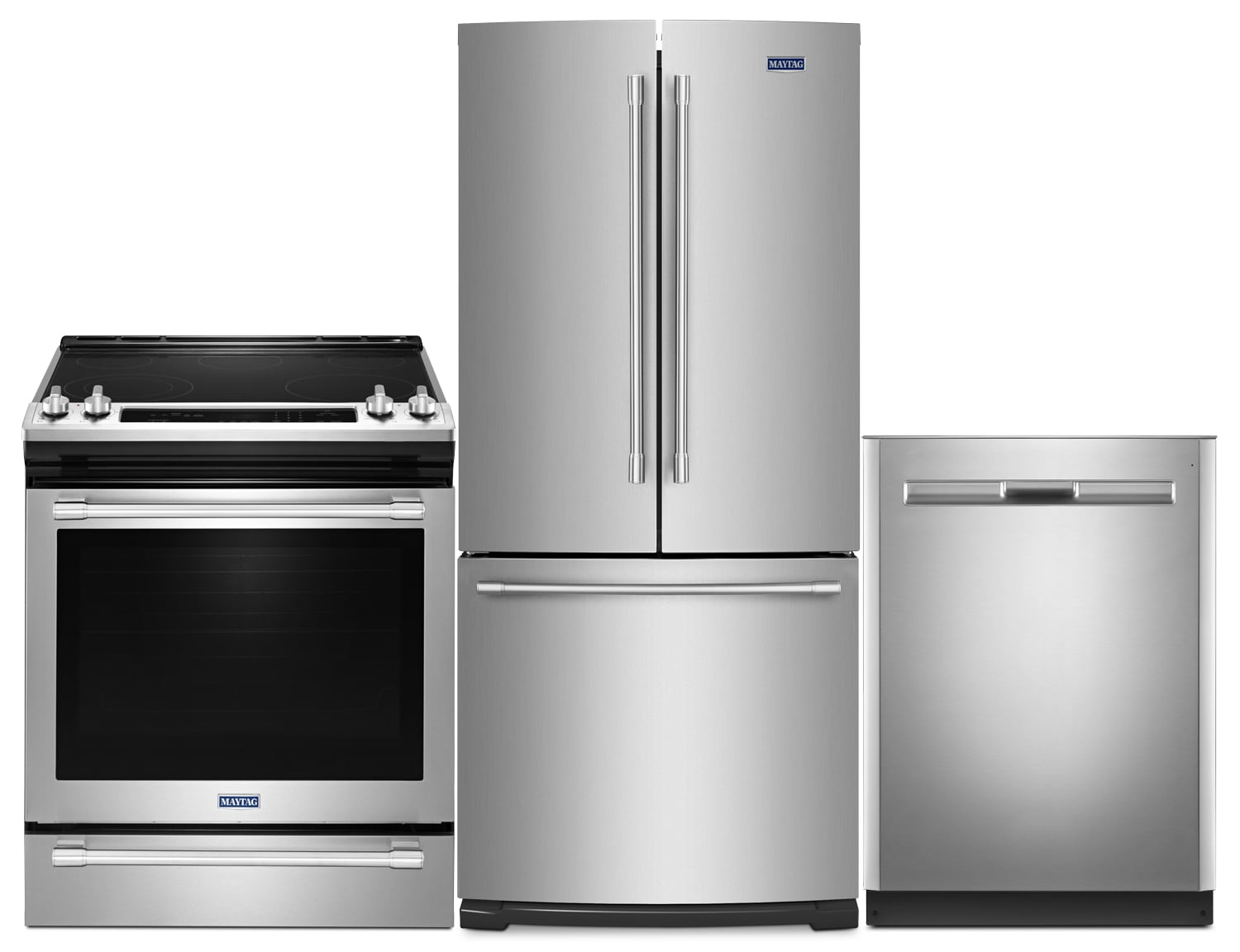 Maytag 20 Cu. Ft. French-Door Refrigerator, 6.4 Cu. Ft. Electric Range and Dishwasher