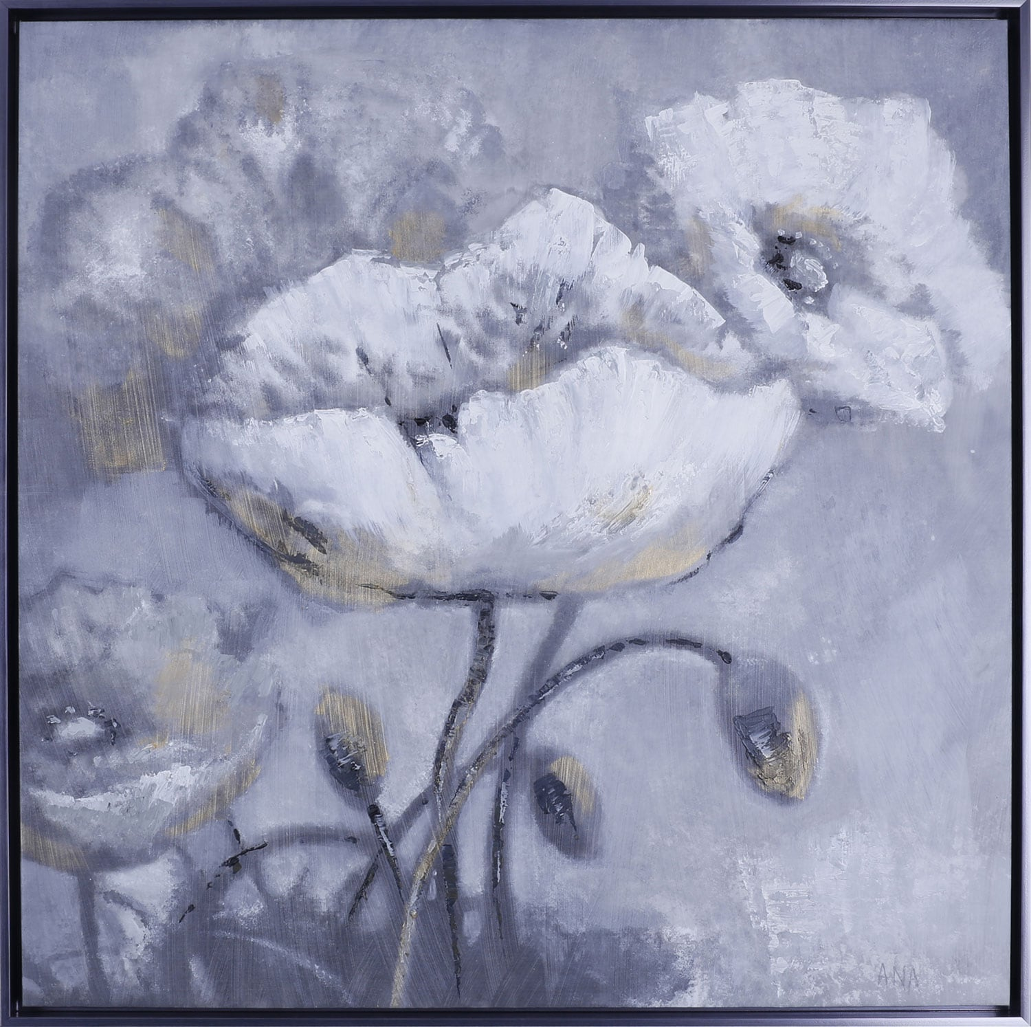 "White Floral II – 37.5"" x 37.5"""
