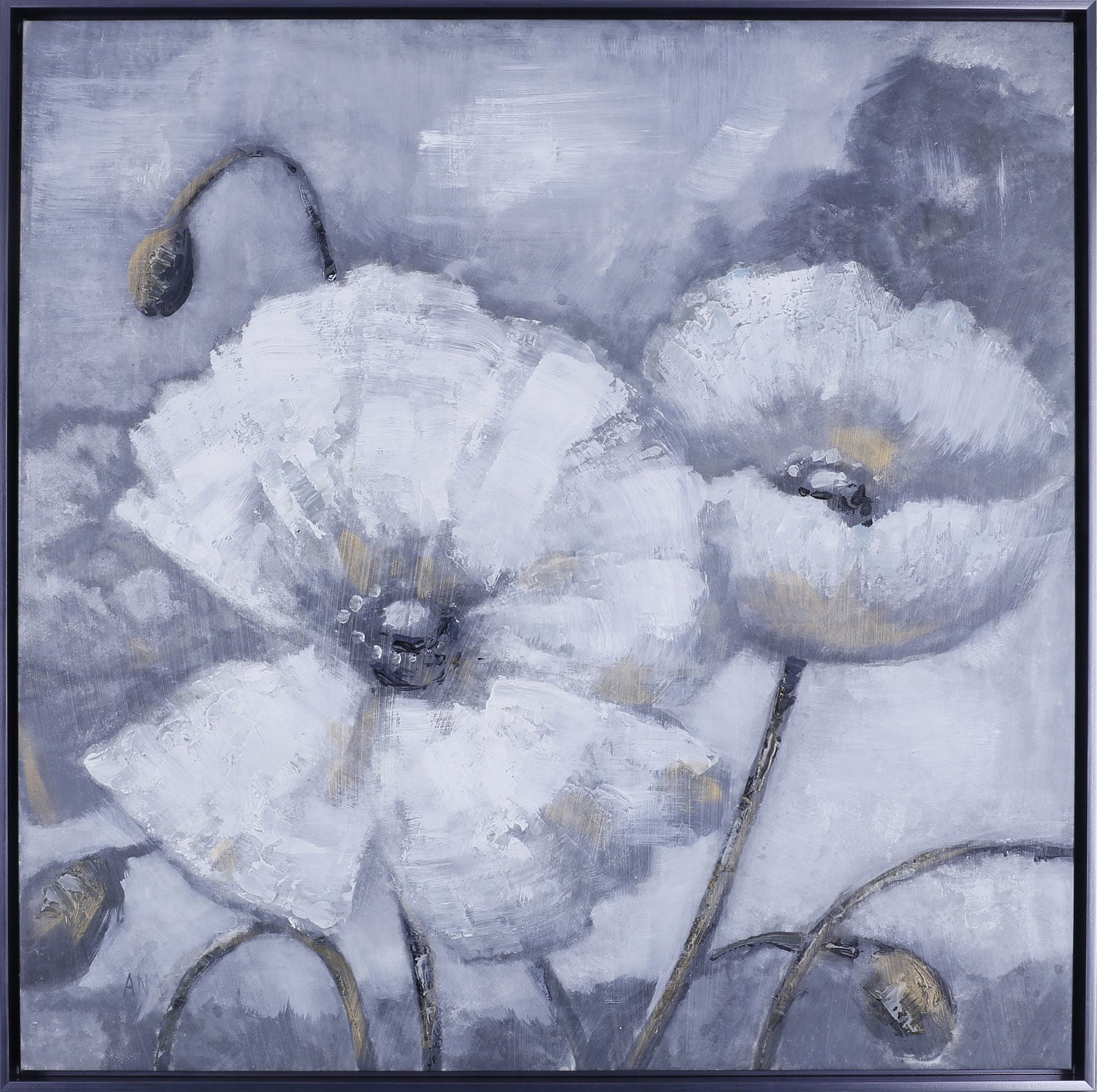 "Home Accessories - White Floral I – 37.5"" x 37.5"""