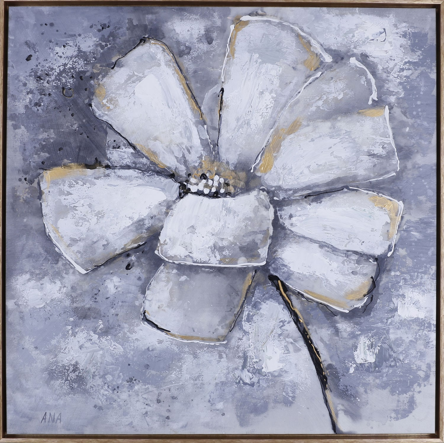 "Gold Floral – 37.5"" x 37.5"""