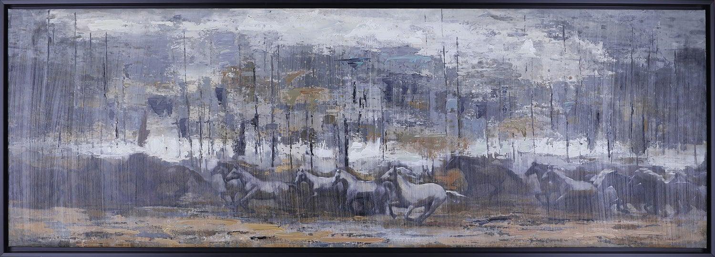 "Horses Running – 62.5"" x 26.5"""